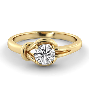 "0.5 Carat 14K Yellow Gold Moissanite ""Laura"" Engagement Ring - Diamonds Mine"