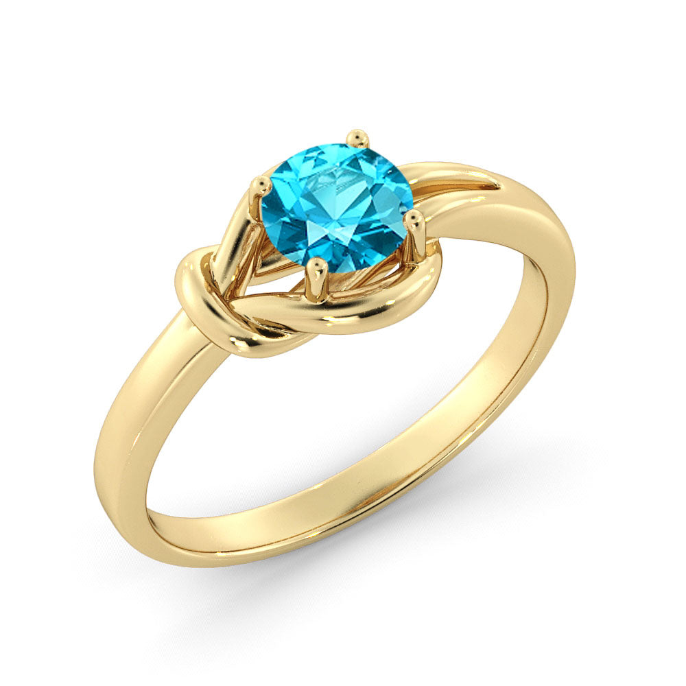 "0.5 Carat 14K Yellow Gold Aquamarine ""Laura"" Engagement Ring - Diamonds Mine"