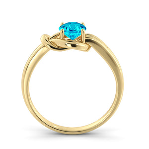 "0.5 Carat 14K Yellow Gold Blue Topaz ""Laura"" Engagement Ring"