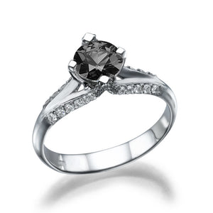 "1 Carat 14K White Gold Black Diamond ""Nita"" Engagement Ring - Diamonds Mine"