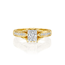 "Load image into Gallery viewer, 2.9 Carat 14K Yellow Gold Moissanite & Diamonds ""Kira"" Engagement Ring"