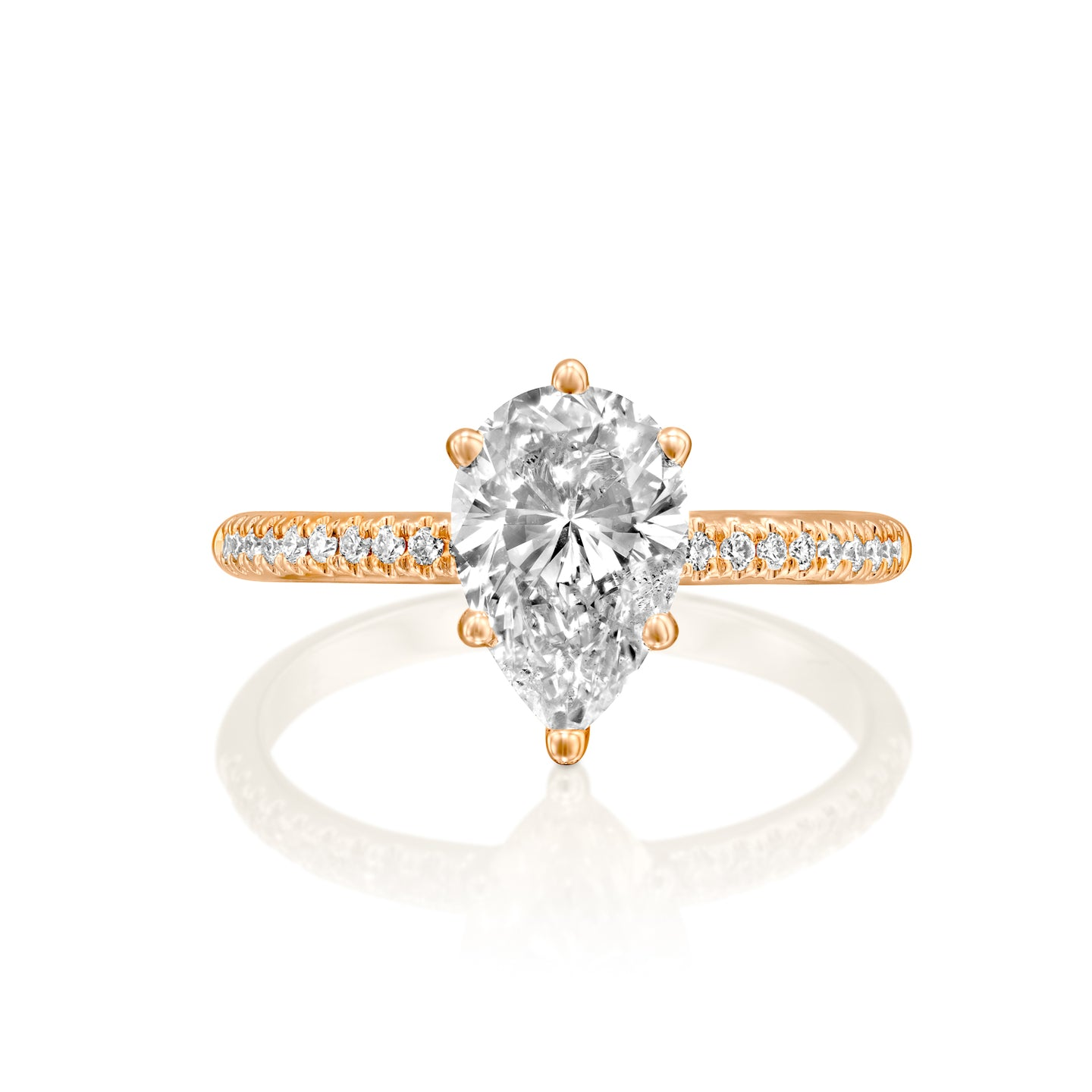 1.7 Carat 14K Rose Gold Moissanite & Diamonds