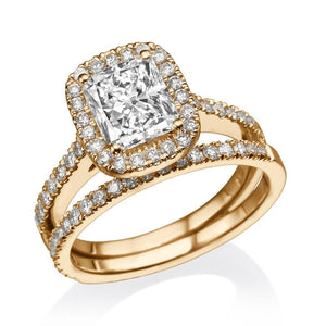 "1.7 Carat 14K Yellow Gold Moissanite & Diamonds ""Maile"" Wedding Set"