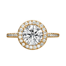 "Load image into Gallery viewer, 1 Carat 14K Yellow Gold Moissanite & Diamonds ""Marine"" Ring"