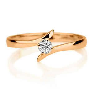 "0.1 Carat 14K Rose Gold Solitaire Twist Moissanite ""Isabel"" Engagement Ring"