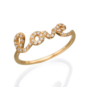 0.15 TCW 14K Rose Gold Diamond Love Ring - Diamonds Mine