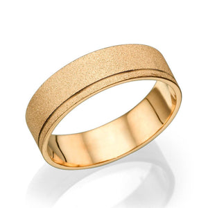5.8MM 14K Rose Gold Sand Finish Men Wedding Band