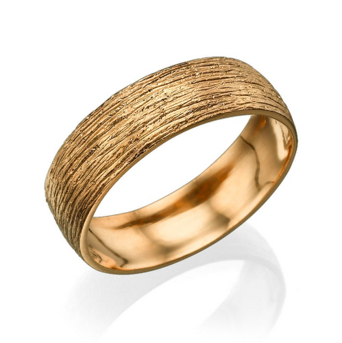 6MM 14K Rose Gold Hand Carved Men Wedding Band