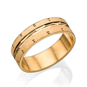 6MM 14K Rose Gold Multi Facet Center Men Wedding Band