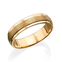 Load image into Gallery viewer, 5MM 14K Yellow Gold Satin Center Men Wedding Band