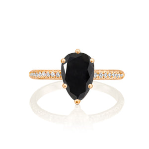 "2.2 Carat 14K White Gold Black Diamond ""Lucy"" Engagement Ring"