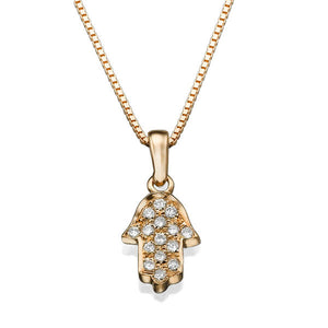 0.1 TCW 14K Yellow Gold Diamond Hamsa Pendant