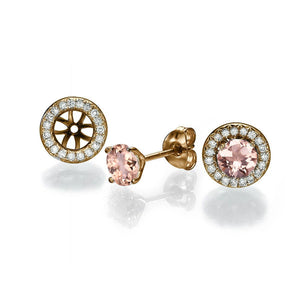 "2 Carat 14K Yellow Gold Morganite & Diamonds ""Marian"" Earrings"