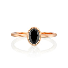 "Load image into Gallery viewer, 1 Carat 14K Rose Gold Black Diamond ""Amber"" Engagement Ring"
