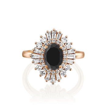 2 Carat 14K Rose Gold Black Diamond Oval