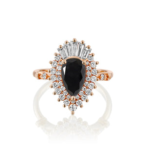1.75 Carat 14K Rose Gold Black Diamond Pear