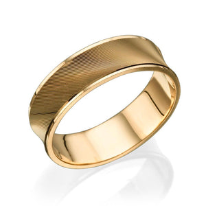 6MM 14K Rose Gold Concave Diamond Cut Men Wedding Band