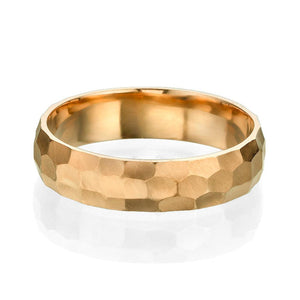 5MM 14K Rose Gold Hammered Style Men Wedding Band