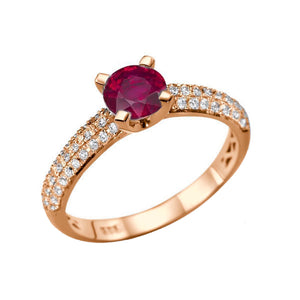 "1.3 Carat 14K Rose Gold Ruby & Diamonds ""Carmen"" Engagement Ring"