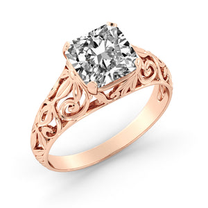 "2.4 Carat 14K Rose Gold Moissanite ""Adele"" Engagement Ring"