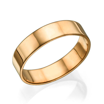 5MM 14K Rose Gold Classic Shiny Men Wedding Band