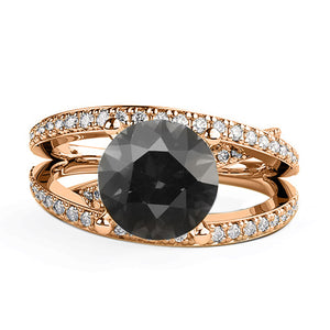 "1.5 CTW 14K Rose Gold Black Diamond ""Victoria"" Engagement Ring"
