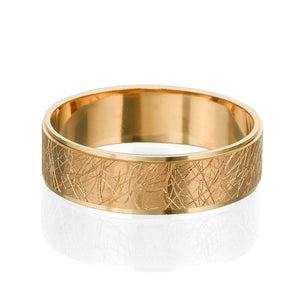 6MM 14K Rose Gold Unique Pattern Hand Carved Men Wedding Band