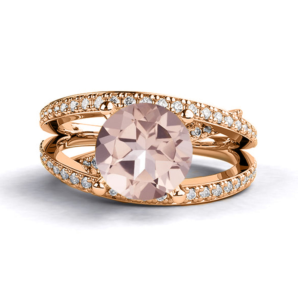 2.9 Carat 14K Rose Gold Morganite & Diamonds`