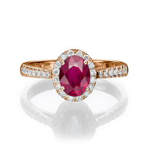 "1.3 Carat 14K Rose Gold Ruby & Diamonds ""Sheryl"" Engagement Ring"