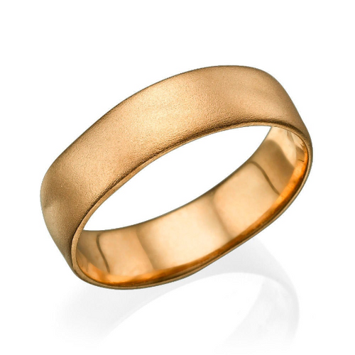 6MM 14K Rose Gold Matte Finish Wedding Band