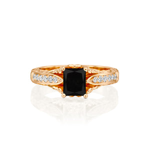 "2.2 Carat 14K White Gold Black Diamond ""Kira"" Engagement Ring"