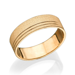 6MM 14K Rose Gold Sand Pattern Men Wedding Band