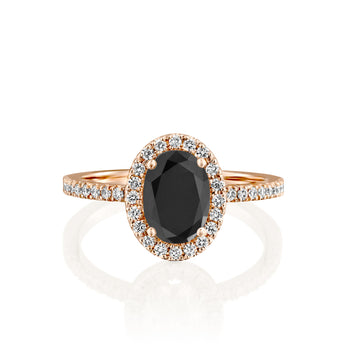 2 Carat 14K Rose Gold Black Diamond
