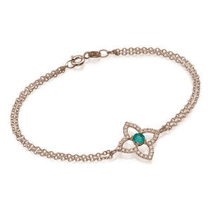 0.6 TCW 18K White Gold Emerald Flower Bracelet