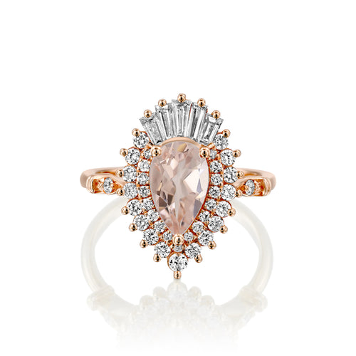 2 Carat 14K Rose Gold Pear Morganite & Diamonds