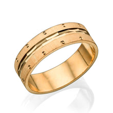 Load image into Gallery viewer, 6MM 14K Yellow Gold Multi Facet Center Men Wedding Band