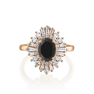 "1.75 Carat 14K Yellow Gold Black Diamond Oval ""Gatsby"" Engagement Ring"