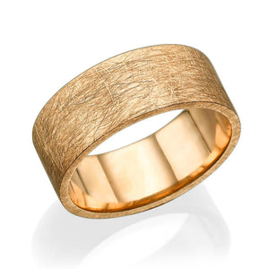 8.7MM 14K Yellow Gold Carved Surface Wedding Band