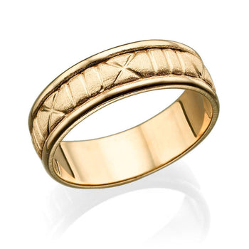 6.5MM 14K Rose Gold Roman Numerals Men Wedding Band