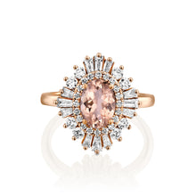 "Load image into Gallery viewer, 1.75 Carat 14K Rose Gold Oval Morganite & Diamonds ""Gatsby"" Engagement Ring"