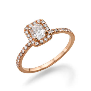 "1.6 Carat 14K Rose Gold Moissanite & Diamonds ""Andrea"" Engagement Ring"