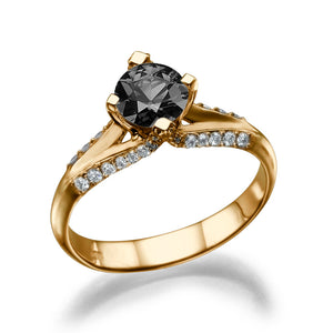 "1 Carat 14K White Gold Black Diamond ""Nita"" Engagement Ring 