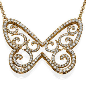 1.58 TCW 14K White Gold Diamond Butterfly Pendant