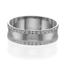 Load image into Gallery viewer, 6.25MM 14K White Gold Screw Pattern Edges Men Wedding Band