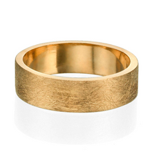 Load image into Gallery viewer, 6.6MM 14K Yellow Gold Scratched Design Men Wedding Band