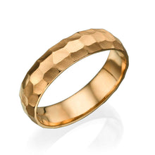 Load image into Gallery viewer, 5MM 14K Yellow Gold Hammered Style Men Wedding Band