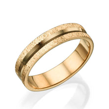Load image into Gallery viewer, 5MM 14K Rose Gold Shiny Channel Center Men Wedding Band