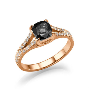 "1.2 TCW 14K White Gold Black Diamond ""Dorothy"" Engagement Ring"