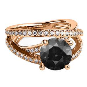 "1.5 Carat 14K White Gold Black Diamond ""Victoria"" Engagement Ring"