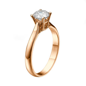 "1 Carat 14K Yellow Gold Forever One Moissanite ""Fairy"" Engagement Ring"